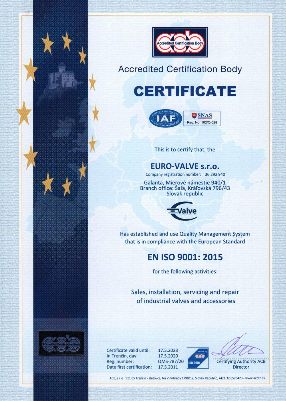 CERTIFICATE EURO-VALVE s.r.o.