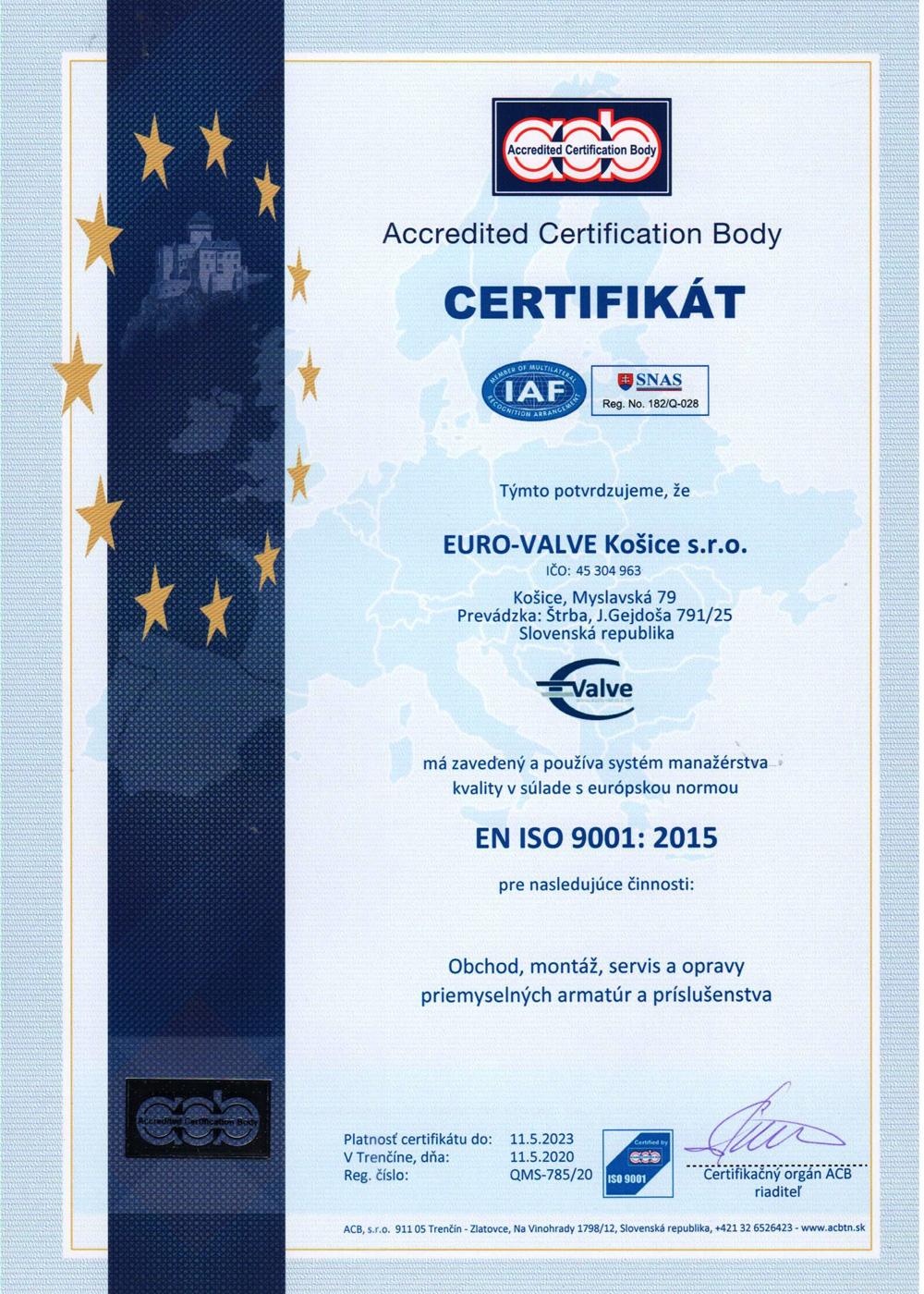certifikát EURO-VALVE Košice s.r.o.