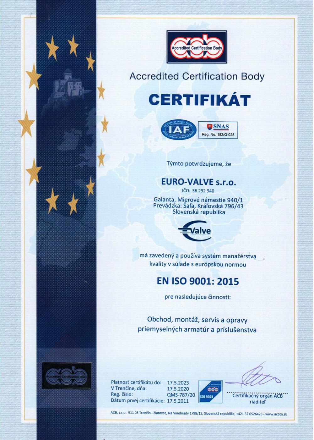 certifikát EURO-VALVE s.r.o.